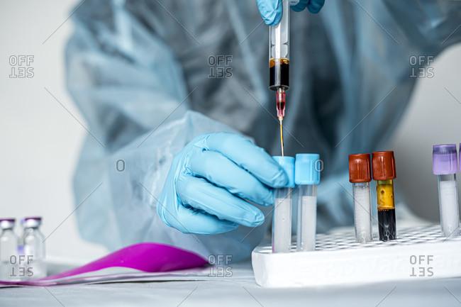 Blood research in coronavirus in laboratory
