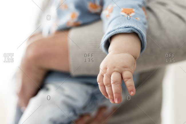 Close up view of a chubby child's hand