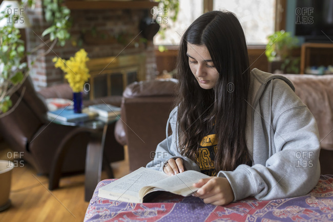 Mixed-race teen girl with long hair reads book in comfortable interior