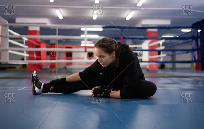 Professional fighter warming up during workout