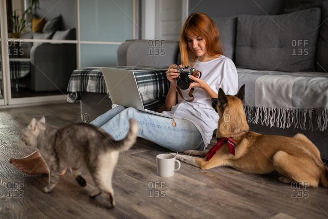 Photographer looking through photos near pets