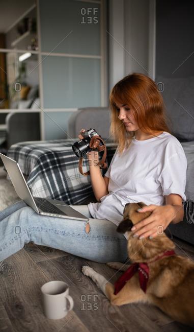 Photographer retouching photos and petting dog