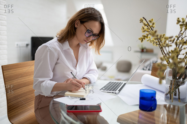 Focused businesswoman writing in planner at home