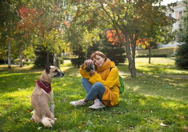 Glad woman taking photos of dog in park