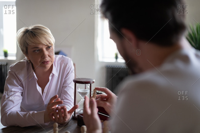 Psychologist and patient discussing anger issues