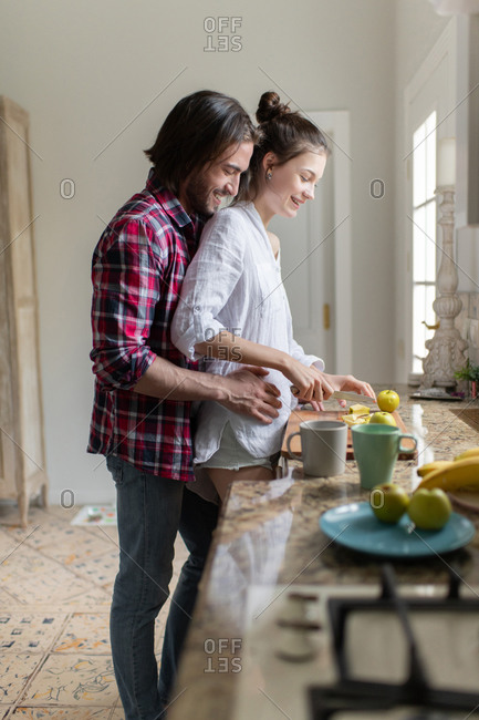 The married couple in the morning at their home