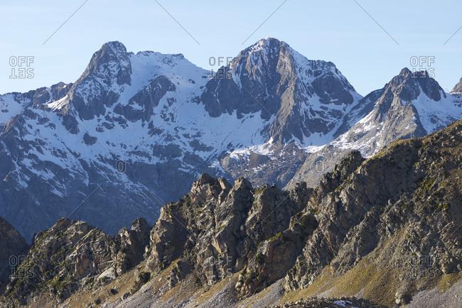 Peaks in Tena valley, panticosa area, pyrenees, huesca province, aragon in spain.