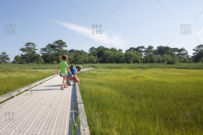 A father and child explore together along boardwalk in grassy marsh