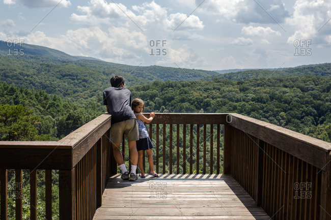 A small child leans against father on platform overlook of forest