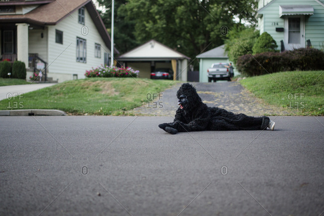 A child in a gorilla suit lays down on street in suburban neighborhood
