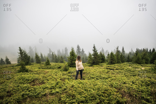 Blonde girl near forest on foggy day