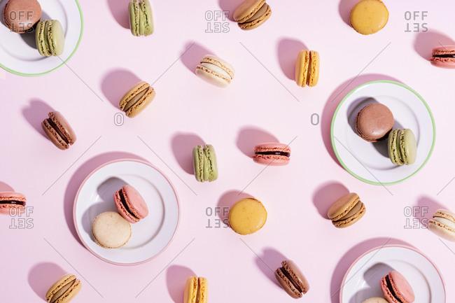 Studio shot of colorful macaroon cookies