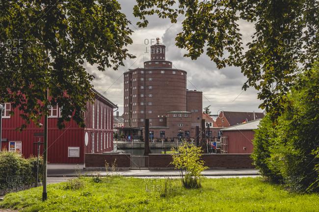 Germany- Schleswig-Holstein- Eckernforde- Rundsilo warehouse and surrounding buildings