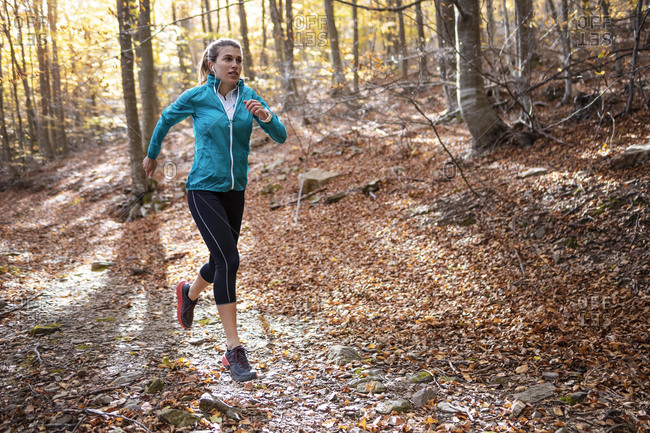 Young sportswoman practicing while running on forest path