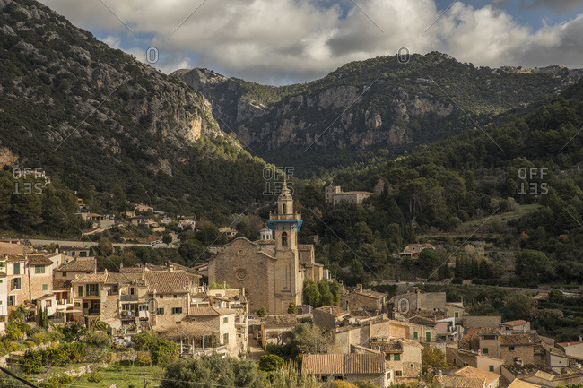 Spain- Mallorca- Valldemossa- Valldemossa Charterhouse and surrounding village houses