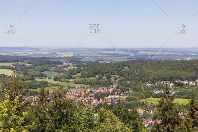 Germany- Thuringia- Bad Tabarz- Town in Thuringian Forest during spring