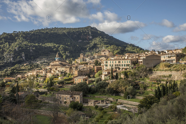Spain- Mallorca- Valldemossa- Houses of calm mountain village in spring