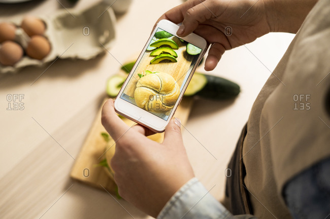 Hands of young woman taking smart phone photo of vegan sandwich