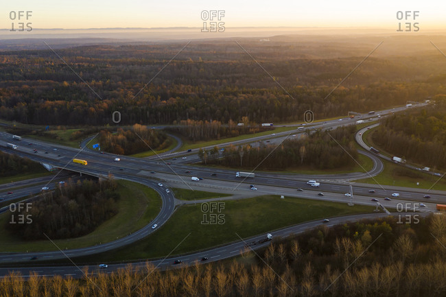 Germany- Baden-Wurttemberg- Stuttgart- Aerial view of traffic on Bundesautobahn 8 at sunset