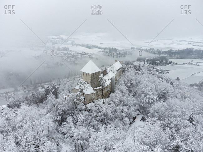 Switzerland- Canton of Schaffhausen- Stein am Rhein- Aerial view of Hohenklingen Castle in winter