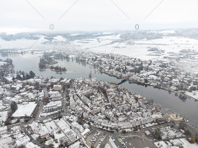Switzerland- Canton of Schaffhausen- Stein am Rhein- Aerial view of medieval town in winter