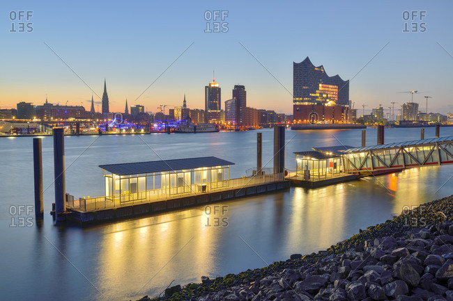 Germany- Hamburg- Northern bank of Elbe at dawn with Elbphilharmonie and city skyline in background