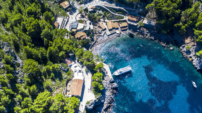Drone shot of blue sea Sa Calobra- Majorca- Torrent De Pareis- Sierra De Tramuntana- Balearic Islands- Spain