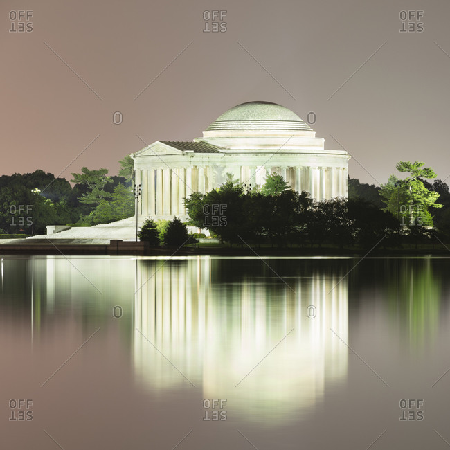 June 10, 2018:  - June 10, 2018: USA- Washington DC- Jefferson Memorial reflecting in Tidal Basin at dusk