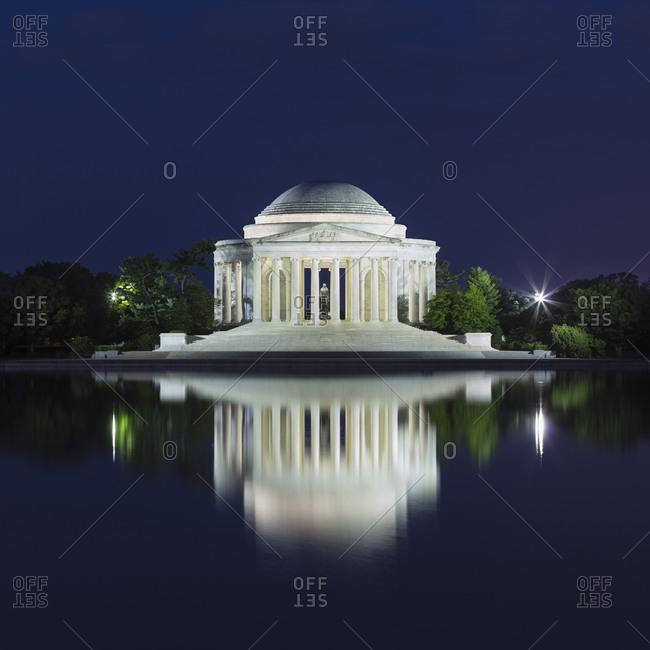 June 8, 2018:  - June 8, 2018: USA- Washington DC- Jefferson Memorial reflecting in Tidal Basin at night