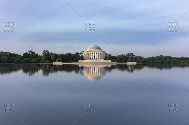 June 8, 2018:  - June 8, 2018: USA- Washington DC- Jefferson Memorial reflecting in Tidal Basin at dawn