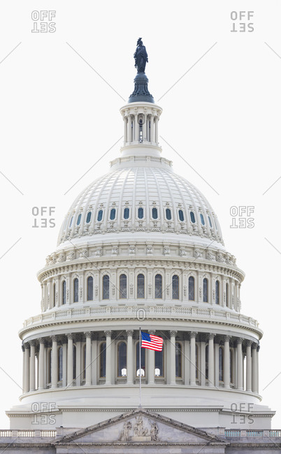 June 9, 2018:  - June 9, 2018: USA- Washington DC- Dome of United States Capitol against clear white sky