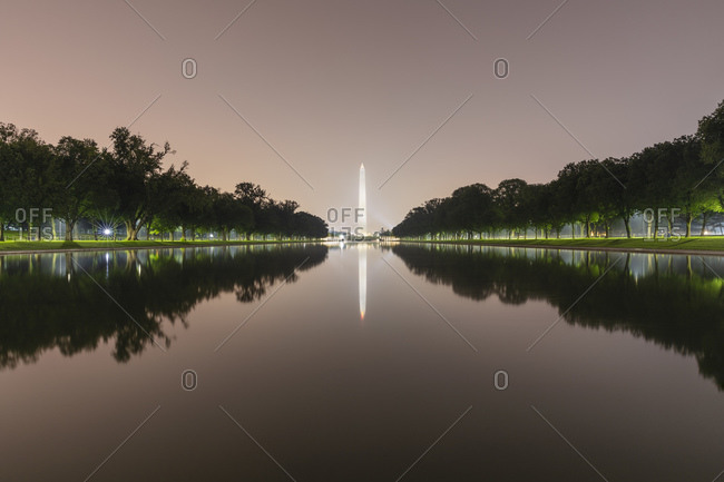 June 9, 2018:  - June 9, 2018: USA- Washington DC- Washington Monument reflecting in Lincoln Memorial Reflecting Pool at night