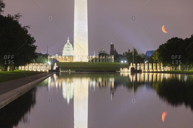 June 8, 2018:  - June 8, 2018: USA- Washington DC- Washington Monument reflecting in Lincoln Memorial Reflecting Pool at night