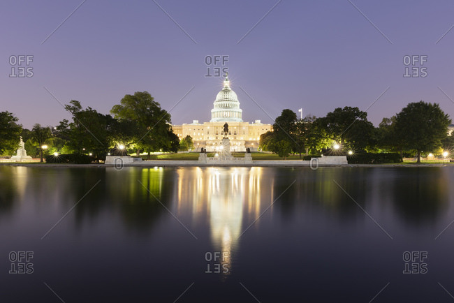 June 8, 2018:  - June 8, 2018: USA- Washington DC- United States Capitol at eastern end of National Mall at night