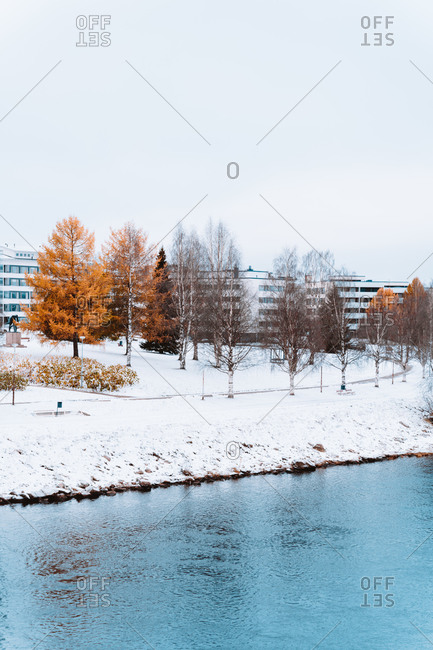 Winter landscape with residential houses located near calm lake in woods in winter