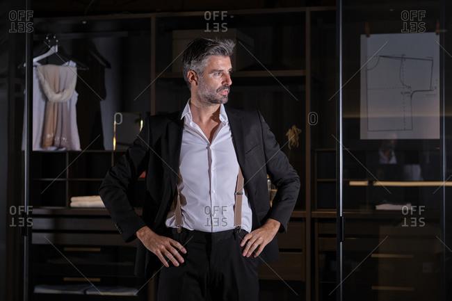Stock photo of elegant business man posing in his dressing room.