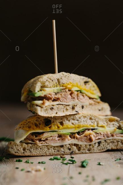 Healthy focaccia of tuna, cheese and avocado