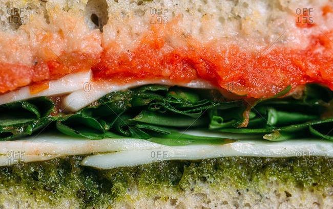 Macro image of healthy sandwich turkey with pesto sauce