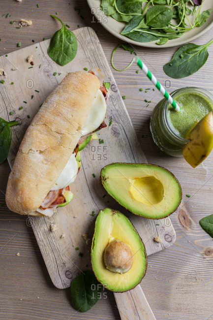 From above panini of turkey and avocado with detox veggie smoothie