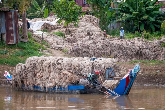 Sangker River, Near Battambang, Cambodia - 08 October 2008: Boat Loaded With Dried Natural Fiber.