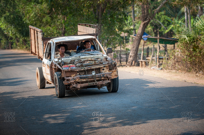 Unfit Car, On The Road Cambodia - 12 March 2010: Car Held Together By A Shoestring.