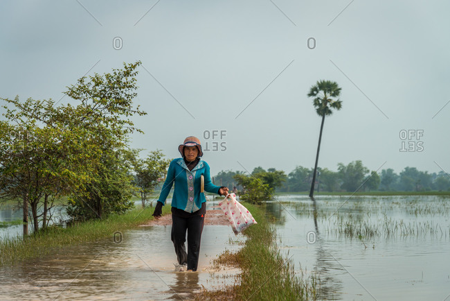 Flood, Siem Reap Province, Cambodia - 14 April 2012: Water Rises Over Small Road To Local Village.