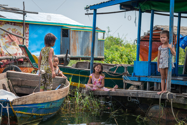 Kompong Luong Floating Village, Krakor District, Cambodia - 15 April 2012: Khmer Children Play In Typical Scenario In Cambodian Floating Village.
