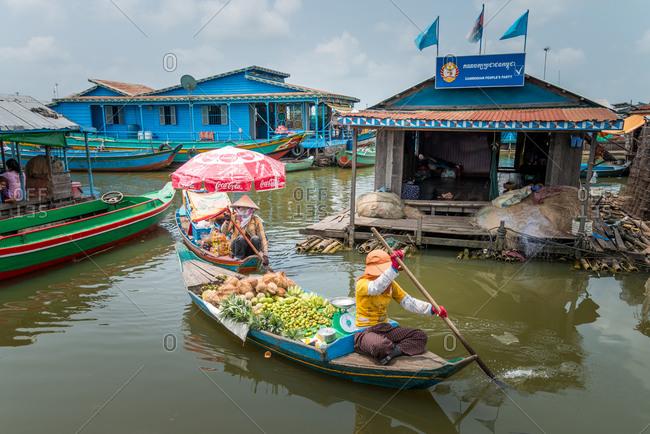 Kompong Luong Floating Village, Krakor District, Cambodia - 15 April 2012: Typical Floating Shop In Cambodian Floating Village.
