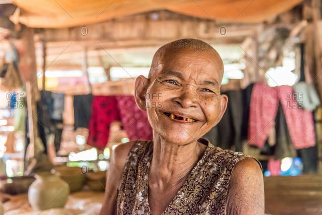 Kompong Chnang, Cambodia - 16 April 2012: Old Cambodian Lady Smiles.