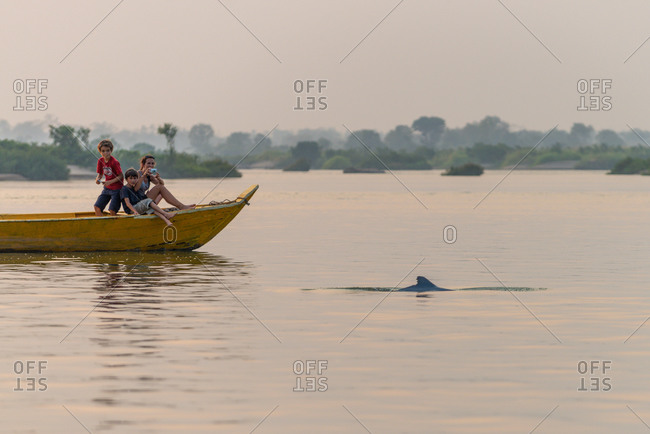 Dolphin Watching, Mekong River, Kratie Province, Cambodia - 12 March 2013: Tourist On Boat At Dusk Photograph The Elusive Fresh Water Irrawaddy Dolphin Fin.
