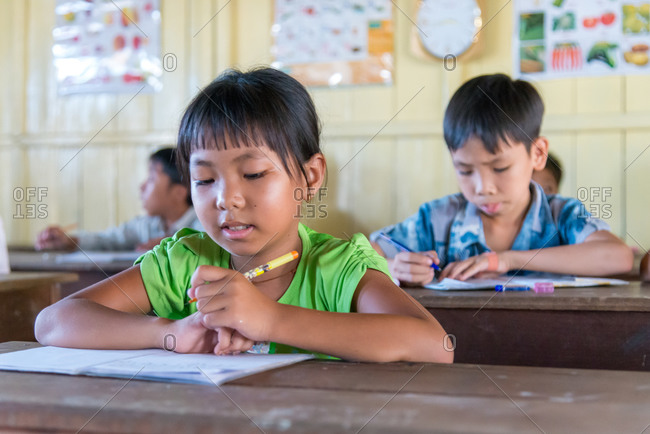 Kompong Luong Floating Village, Krakor District, Cambodia - 24 June 2014: Casual School Lessons In Church Classroom -  Cambodian Floating Village.