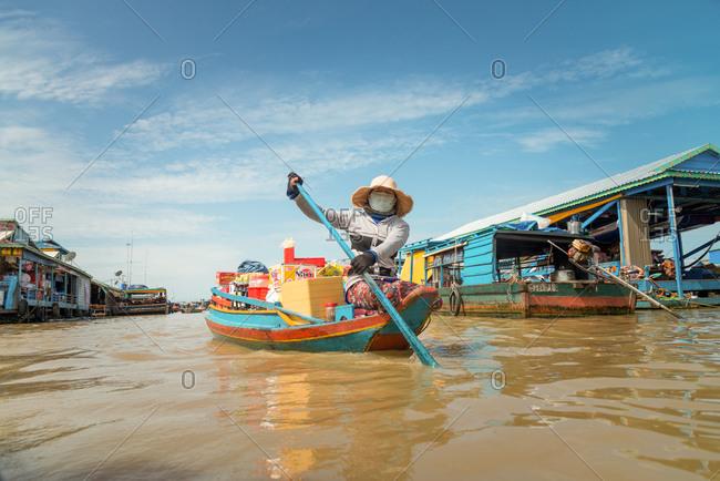 Kompong Luong Floating Village, Krakor District, Cambodia - 29 July 2014: Floating Shop In Cambodian Floating Village.