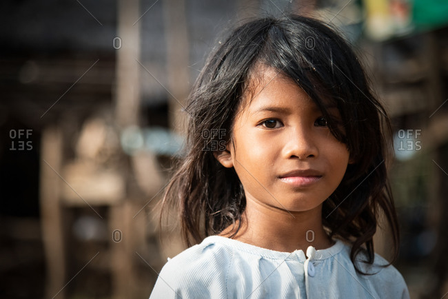 Silk Island (Koh Dach), Cambodia - 14 August 2014: Portrait Of Young Khmer Girl.