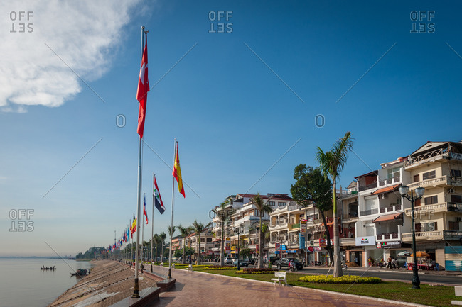 River Side, Phnom Penh, Cambodia - 20 September 2010: The Main Promenade On River Front Where The Tonle Sap Meets The Mekong River Is Typically Very Quiet Mid Day.